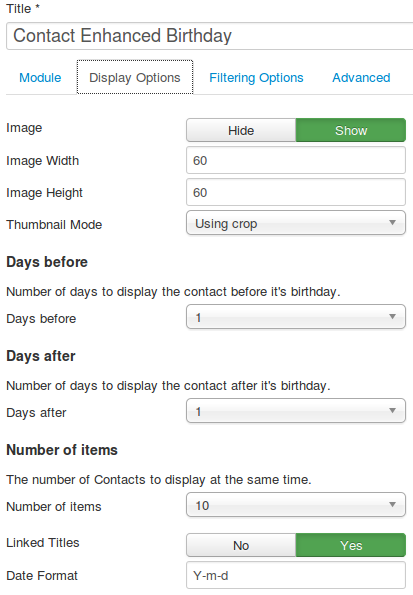 Contact Enhanced Birthday Module configuration options