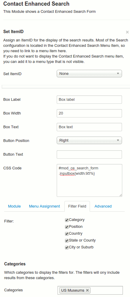 Contact Enhanced Search Module configuration options