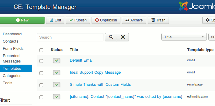 Contact Enhanced Template Manager
